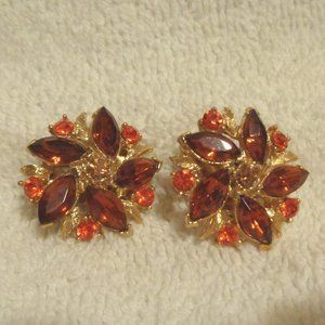 Beautiful Gold-tone Colorful Clip Earrings